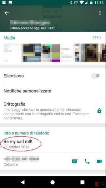 vecchio stato WhatsApp