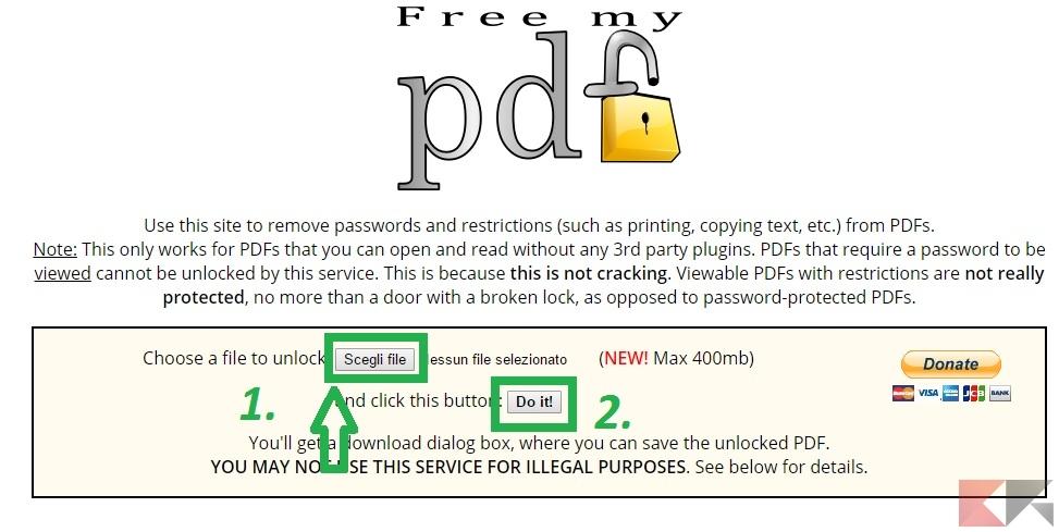 come rimuovere protezione PDF - FreeMyPDF