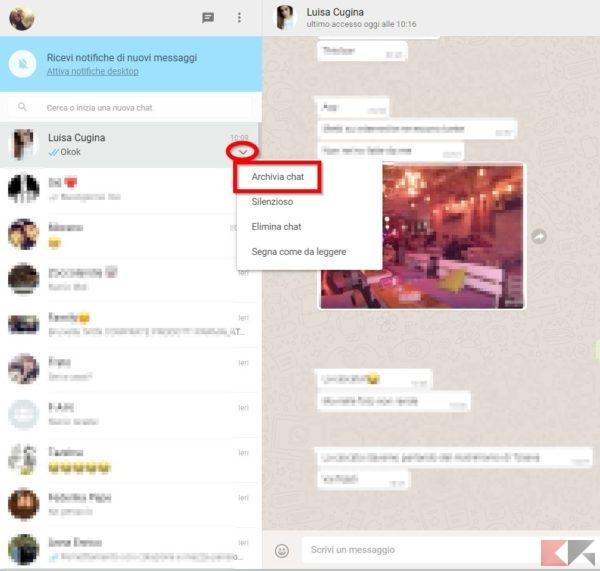 archiviare chat whatsapp web