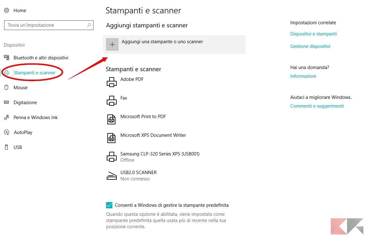 windows 10 - stampanti e scanner