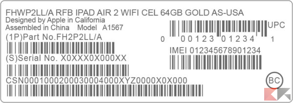 IMEI scatola iPhone, iPad, iPod Touch