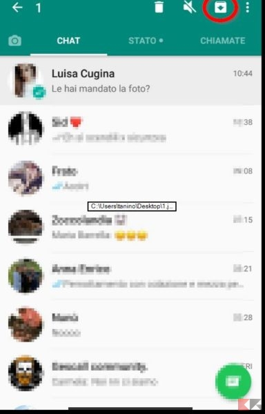 archiviare chat Whatsapp Android