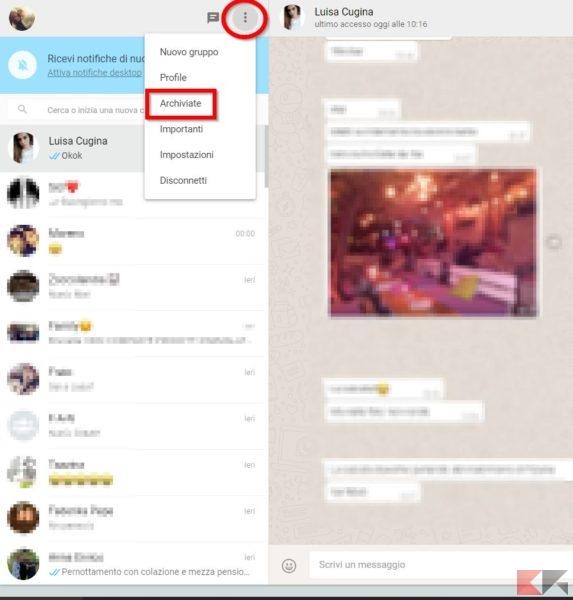 chat archiviate whatsapp web