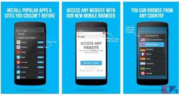 Hola VPN - navigare anonimi su Android