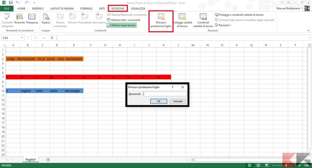 Proteggere celle Excel con password