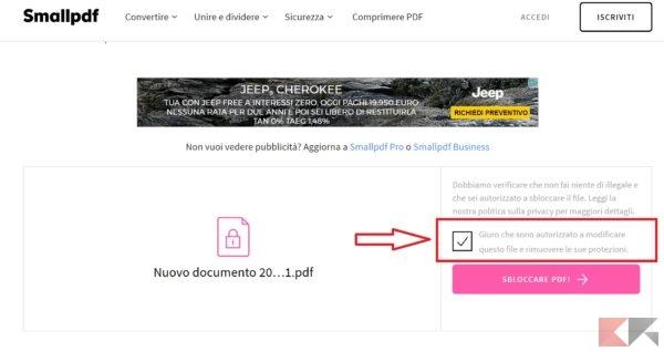 come rimuovere protezione PDF - SmallPDF