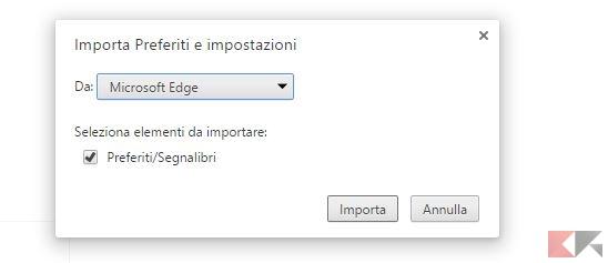 Importare in Google Chrome 2
