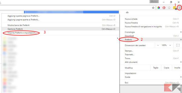 Importare in Google Chrome