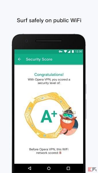 Opera Free VPN - navigare anonimi su Android