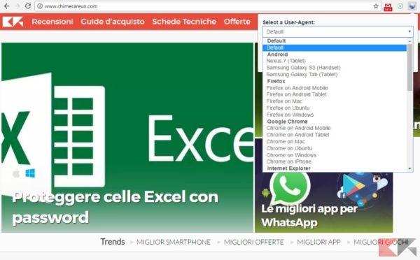 cambiare l'User Agent su Chrome tramite estensione