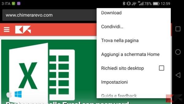 cambiare l'User Agent: tramite l'opzione su Chrome per Android
