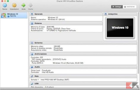installare windows su MacOS tramite VirtualBox
