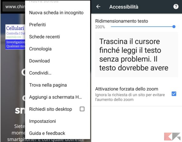 accessibilità chrome