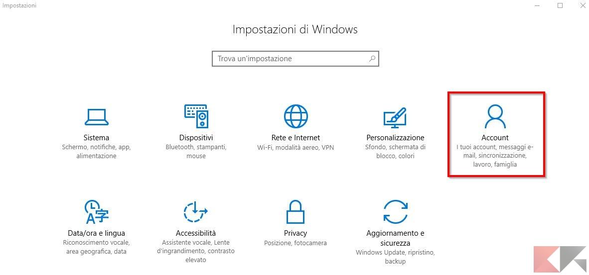 account windows 10 - impostazioni