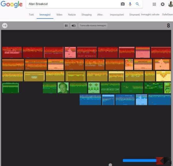 arkanoid - atari breakout su Google