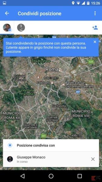 Google Maps posizione condivisa