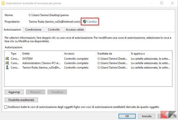 cambia proprietario cartelle e file windows