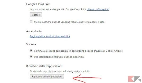 Chrome: ripristino impostazioni