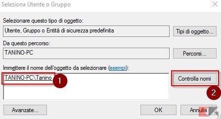 controlla nome utente windows