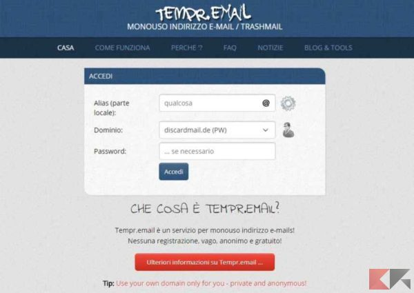 creare email temporanea - tempr.email