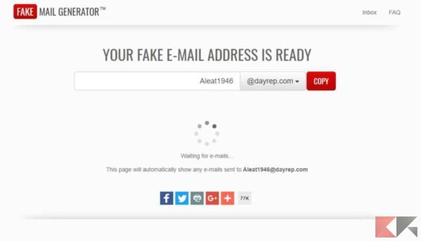creare email temporanea - Fake Mail Generator