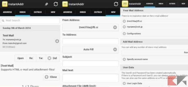 creare email temporanea - Instant Email Address