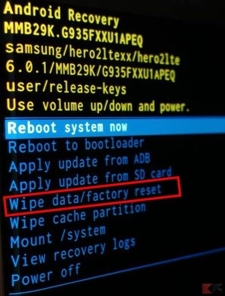 formattare Android - wipe tramite recovery