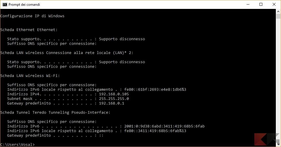 entrare nel router: trovare indirizzo tramite ipconfig