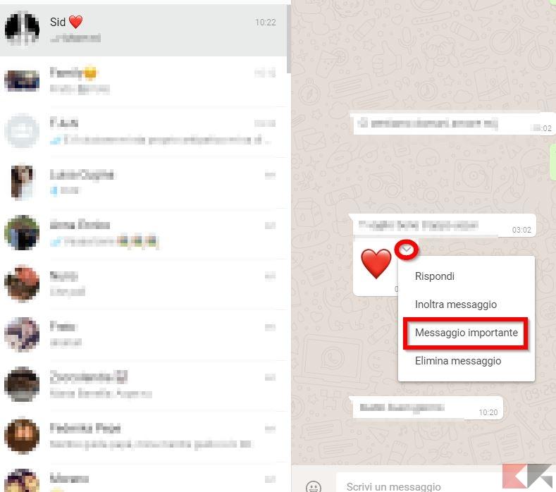 messaggio importante WhatsApp Web