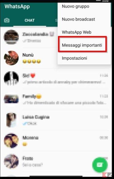 Messaggi importanti Whatsapp Android