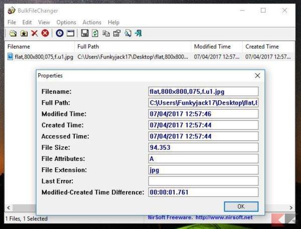 modificare data creazione file