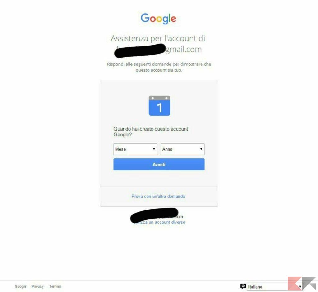 recuperare password google