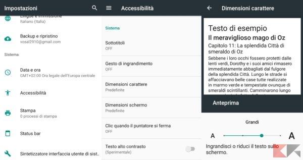 Ingrandire o rimpicciolire testo su Android con impostazioni accessibilità
