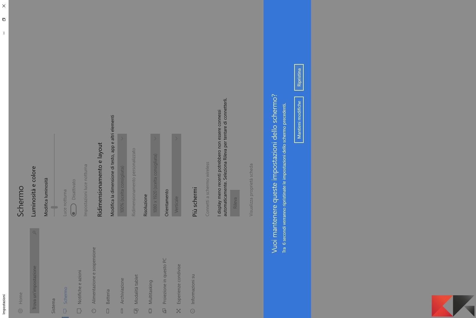 Ruotare schermo in Windows 10