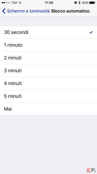 blocco schermo su iphone