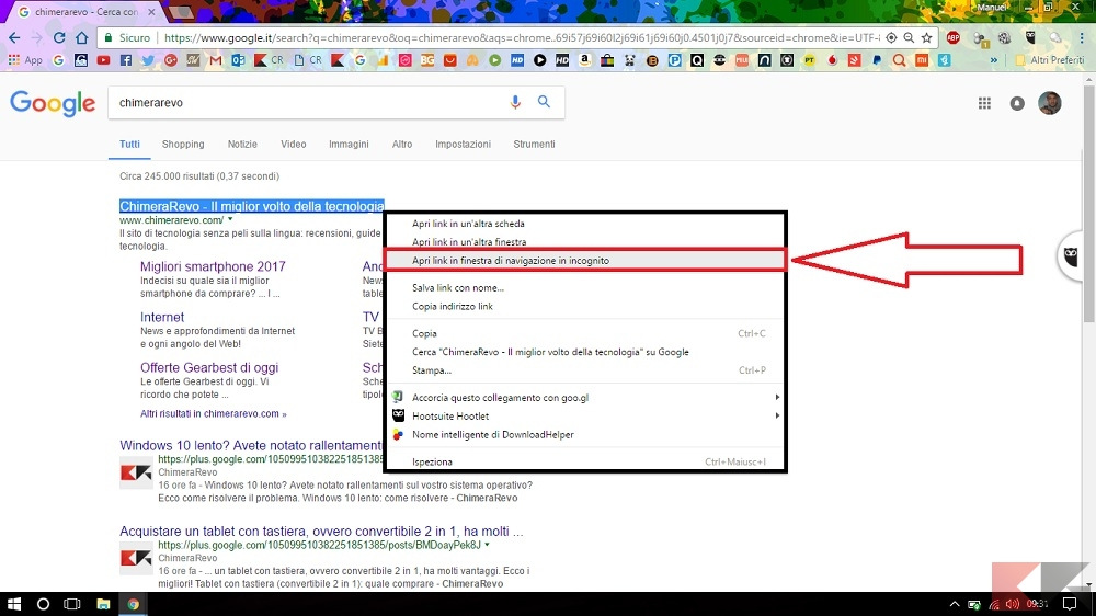 Navigare in incognito con google chrome chimerarevo - Finestra di navigazione in incognito ...