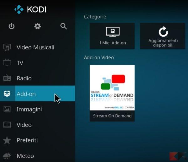Stream On Demand su Kodi 17