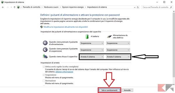 cliccatela per personalizzare il comportamento del vostro portatile.