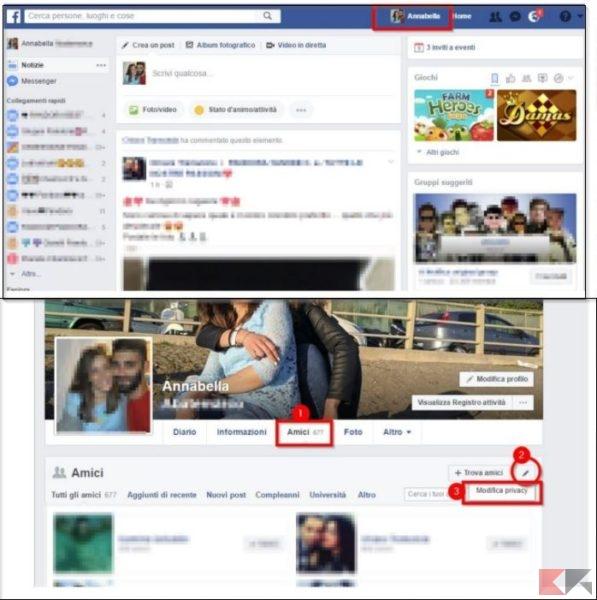 Nascondere la lista amici Facebook