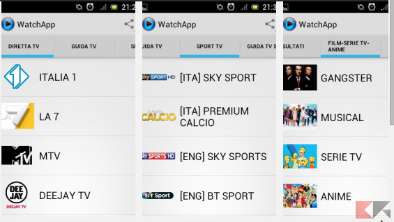 Tv satellitare Android: watchApp