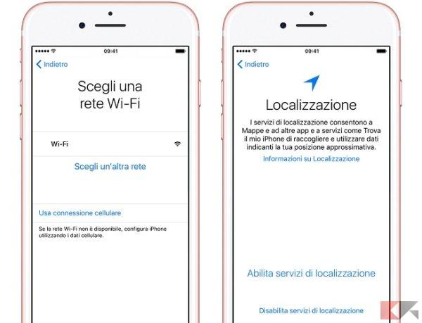 configurazione iPhone