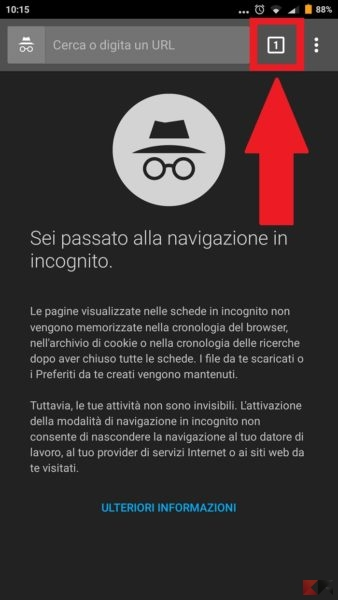 navigare in incognito con Chrome