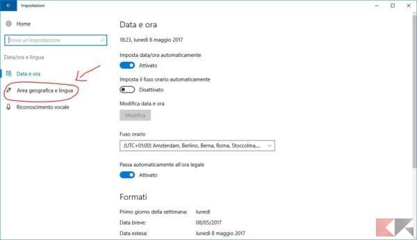 Cambiare lingua Windows 10
