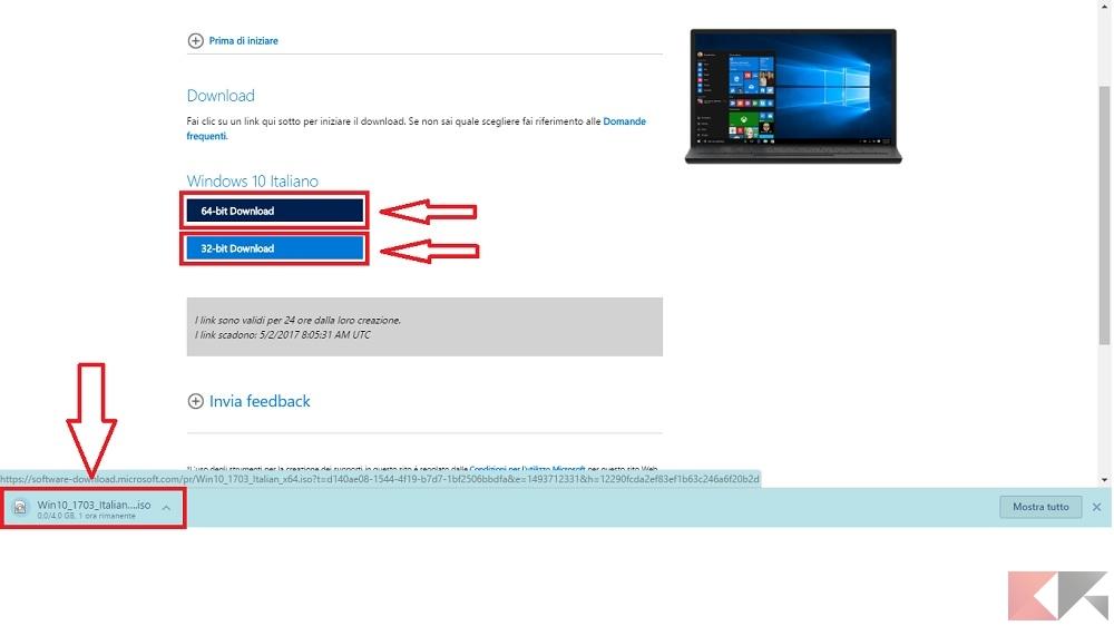 scaricare ISO Windows 10 Creators Update
