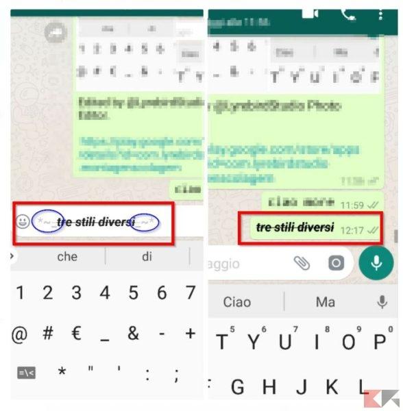 Come scrivere grassetto, corsivo e barrato su Whatsapp
