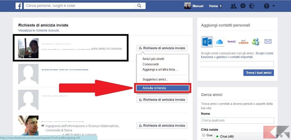vedere richieste di amicizia inviate Facebook