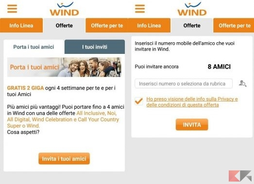 Porta un amico tramite l'app My Wind