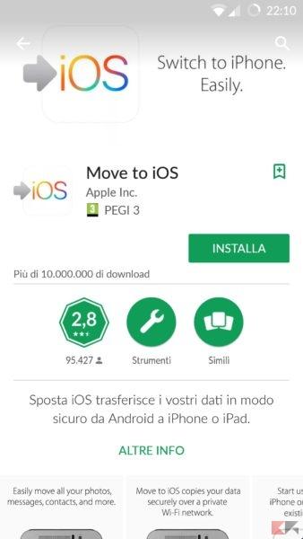 trasferire contatti android su iphone