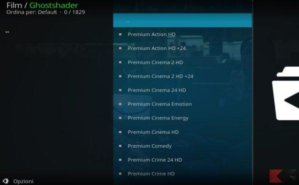vedere i canali di Premium in Streaming su Kodi