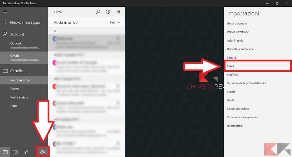 Cambiare la firma predefinita nella posta di Windows 10